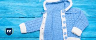 детская одежда на синем фоне гл